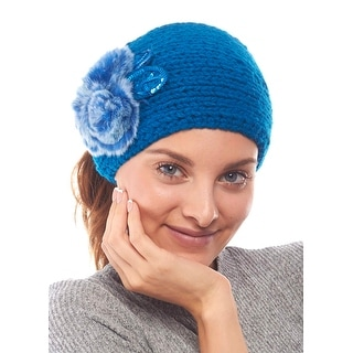 Comfy Candytuft Knit Winter Headband with Faux Fur Details