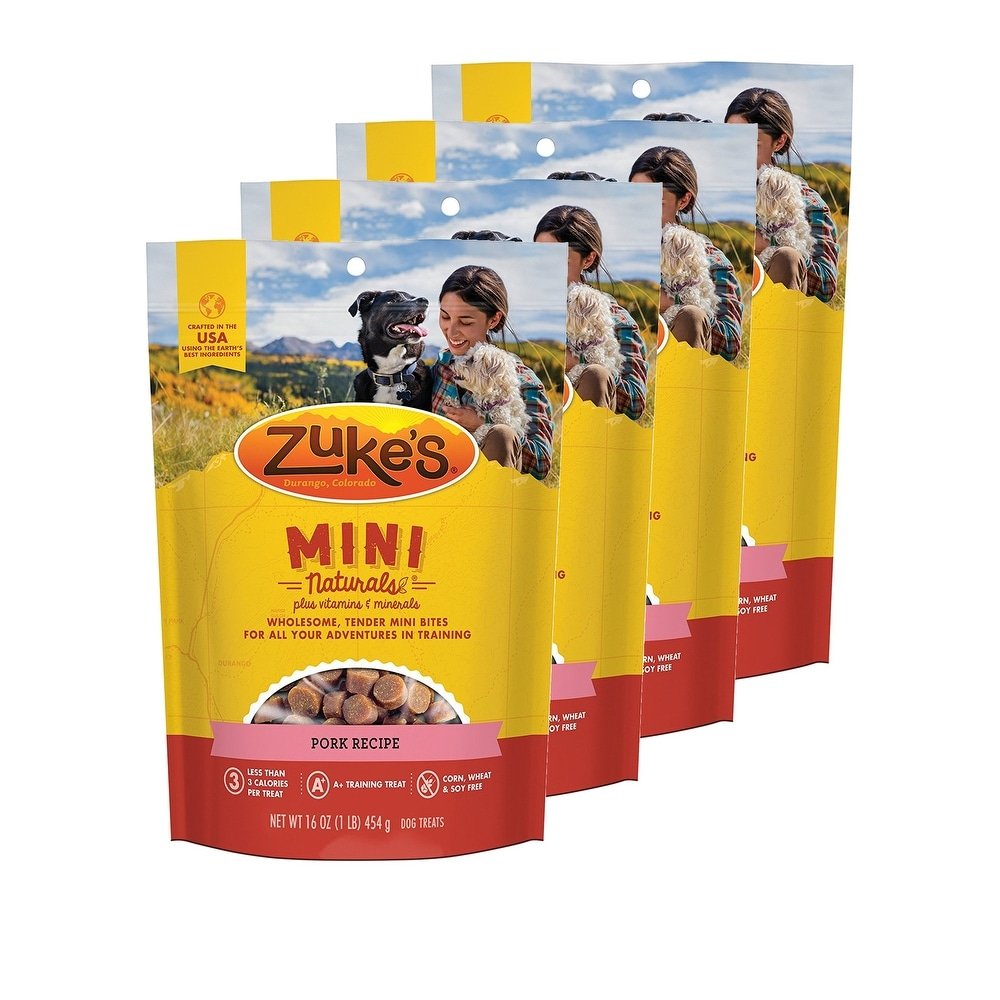 Zuke's Mini Naturals Pork Recipe 16 oz Dog Treats 4 Pack