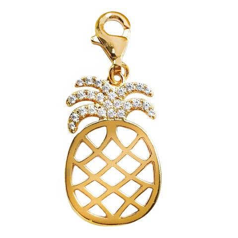Julieta Jewelry Pineapple CZ Gold Sterling Silver Charm