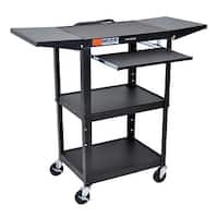 """OF-AVJ42KBDL-B - Offex 42"""" Adjustable Height Steel AV Electric Cart with Drop Leaf and Pullout Tray - Black"""