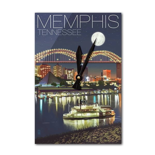 Memphis, Tennesseee - Skyline at Night - Lantern Press Artwork (Acrylic  Wall Clock) - Acrylic Wall Clock