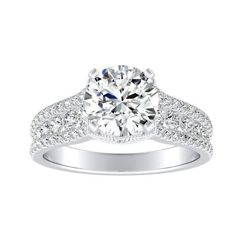 Auriya 14k Gold Vintage 1 1/2ct Moissanite and Diamond Engagement Ring 5/8ctw