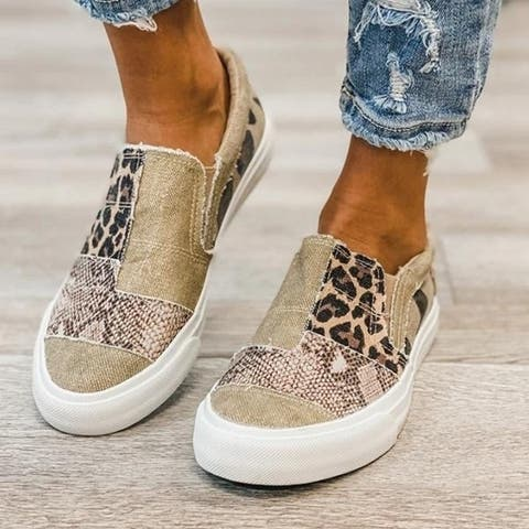 Women's Shoes Snakeskin Stitching Flat Canvas Shoes