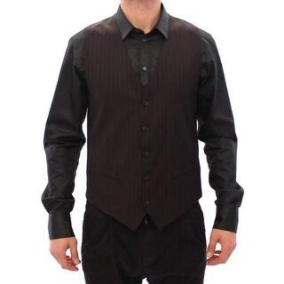 Dolce & Gabbana Dolce & Gabbana Brown Striped Wool Logo Vest Gilet Weste - it48-m