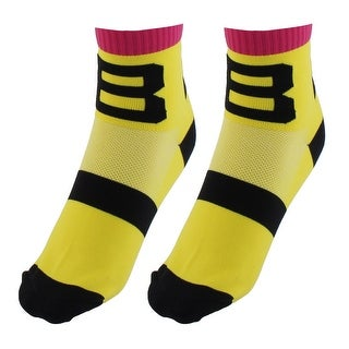 R-BAO Authorized Football Cotton Blend Compression Cycling Socks Yellow Pair