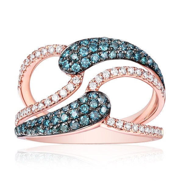 0.88ct Ice-Blue Color Diamond and Natural G-H/SI1 Diamond Fancy Ring - White G-H/iceblue