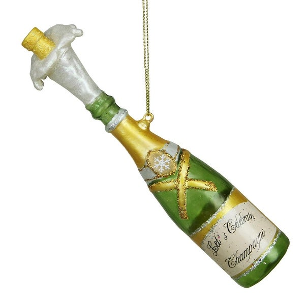 """7"""" Happy Hour Popped Cork Champagne Bottle Christmas Ornament"""