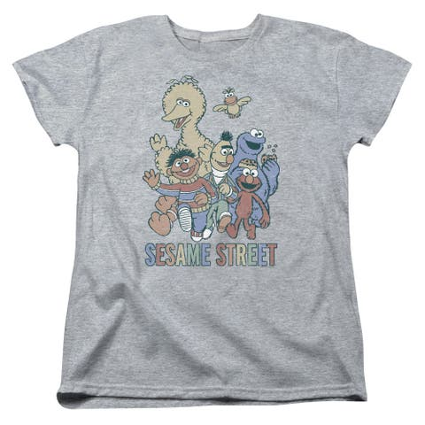 Sesame Street Colorful Group Womens Short Sleeve Shirt