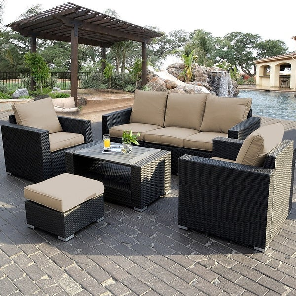 Shop Costway 7pc Outdoor Patio Sectional Furniture Pe Wicker Rattan