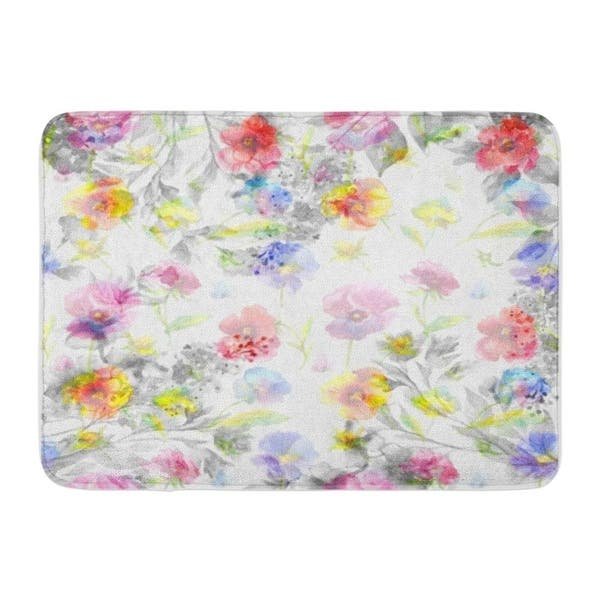 Beautiful Floral Garland Pansies Lilac Flowers And Butterfly Watercolor Hand Doormat Floor Rug Bath Mat 30x18 Inch Multi On Sale Overstock 31774483