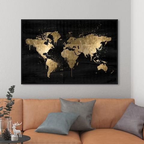 Oliver Gal 'Mapamundi Gold' Maps and Flags Wall Art Framed Canvas Print World Maps - Black, White