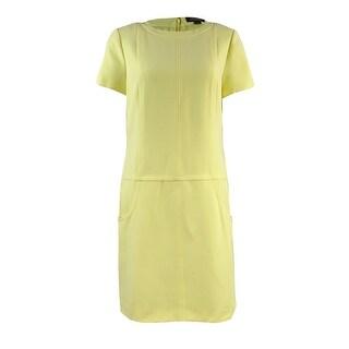 Tahari Women's Seamed Crew-Neck Shift Dress (6, Lemon Ice) - lemon ice - 6