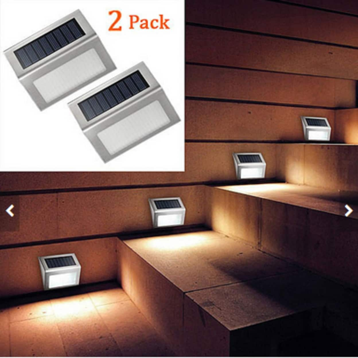 2 Pack Stainless Steel Wall Light Solar Staircase 3 Led