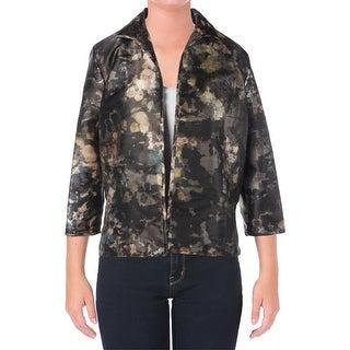 Lafayette 148 Womens Silk Blend Printed Open-Front Blazer