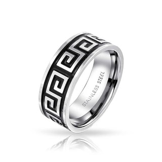 Link to Mens Greek Key Black Flat Wedding Band Ring Black Stainless Steel 8MM Similar Items in Rings