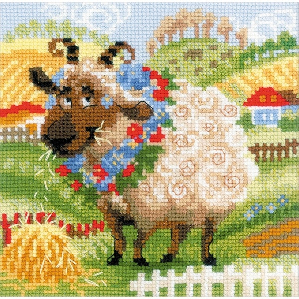 """The Farm Lamb Counted Cross Stitch Kit-8""""X8"""" 10 Count"""