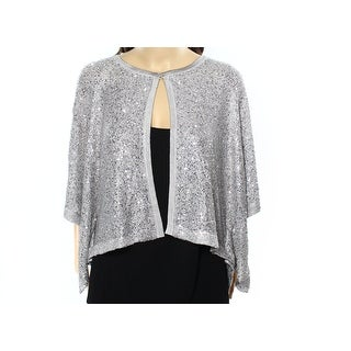 Alfani NEW Silver Womens Large L Open Front Sequin Knit Cardigan Sweater