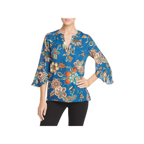 Status by Chenault Womens Blouse Floral Bell Sleeves - Teal/Spice