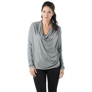 Bordeaux Womens Casual Top Shimmer Cowl Neck