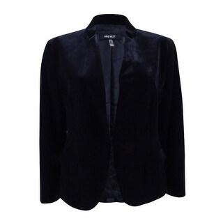 Nine West Women's Plus Size Velvet Front Jacket - Black