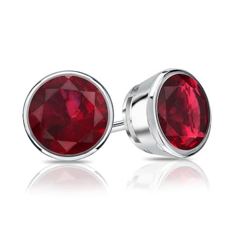 Auriya 14k Gold 1/4ctw Bezel-set Ruby Gemstone Stud Earrings
