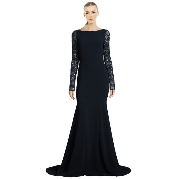 Shop Theia Sequined Long Sleeve Mermaid Evening Gown Dress - Free ...
