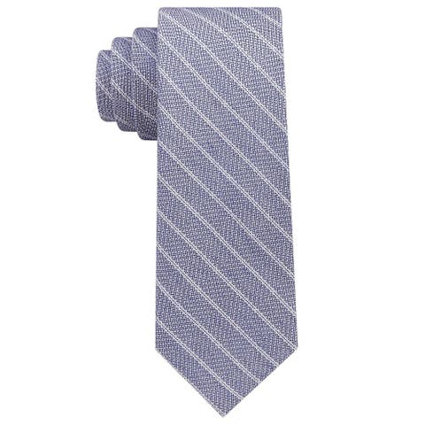 DKNY Mens Woven Textured Striped Slim Tie Necktie Blue and White