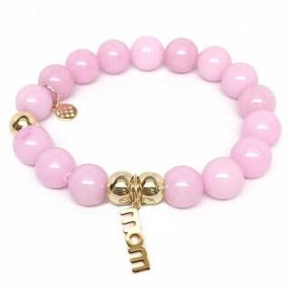 Julieta Jewelry Mom Charm Pink Jade Bracelet