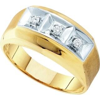 10k Yellow Gold Mens Round 3-stone Diamond 2-tone Brushed-Satin Masculine Wedding Band 1/10 Cttw - White