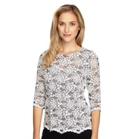 3/4 Sleeve Sequined Lace Blouse
