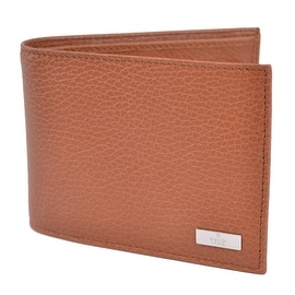 GUCCI MEN'S 143384 TAN BROWN CALF LEATHER BIFOLD LOGO COIN POCKET WALLET