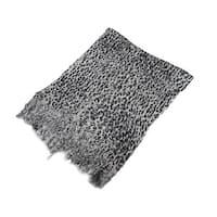 Black And Gray Metallic Leopard Print Lightweight Poncho