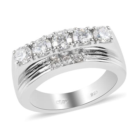 Shop LC Platinum Over 925 Sterling Silver Moissanite Ring Men Ct 1.3