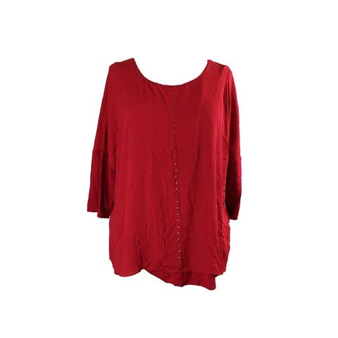 Alfani Red 3/4-Sleeve Overlay Studded Top L