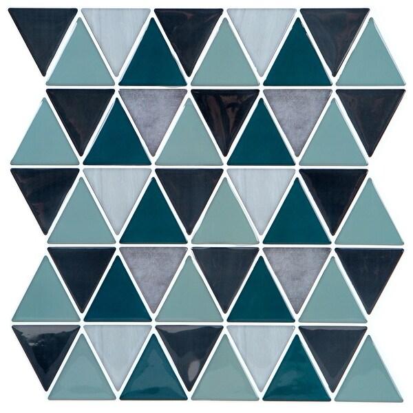 Simplify Peel & Stick Wall Tile 4 Pack in Geo Blue/Grey. Opens flyout.
