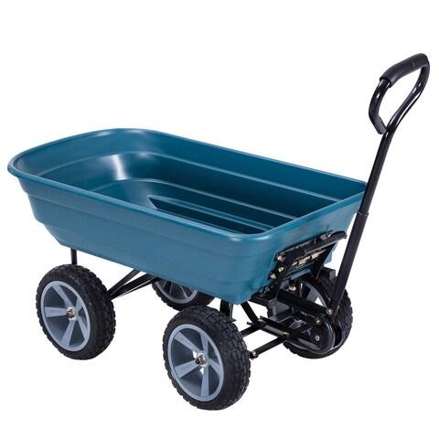 Gymax Heavy Duty Garden Dump Cart Dumper Wagon Carrier Wheel Barrow Air Tires