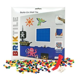 Brik Wall Tiles and Building Blocks - Peel and Stick Square Baseplates with Bricks- Set of 2 - 10.5 in. x 10.5 in. x .5 in.