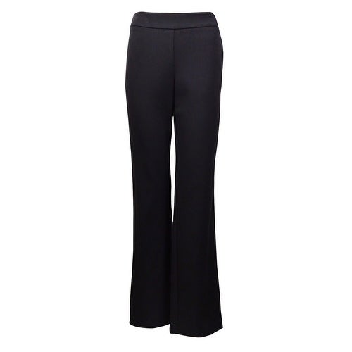 Charter Club Women's Classic Fit Relaxed Full-Leg Trousers - Deep Black