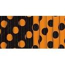 "Paper Straws 8.25"" 10/Pkg-Orange & Black Decorative Dots"
