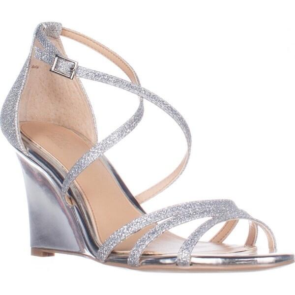 Jewel Badgley Mischka Hunt Strappy Wedge Sandals, Silver Glitter