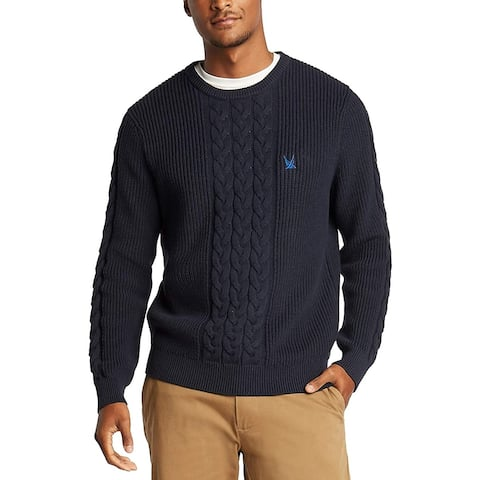 Nautica Mens Sweater Navy Blue Size Large L Crew Classic-Fit Cable Knit