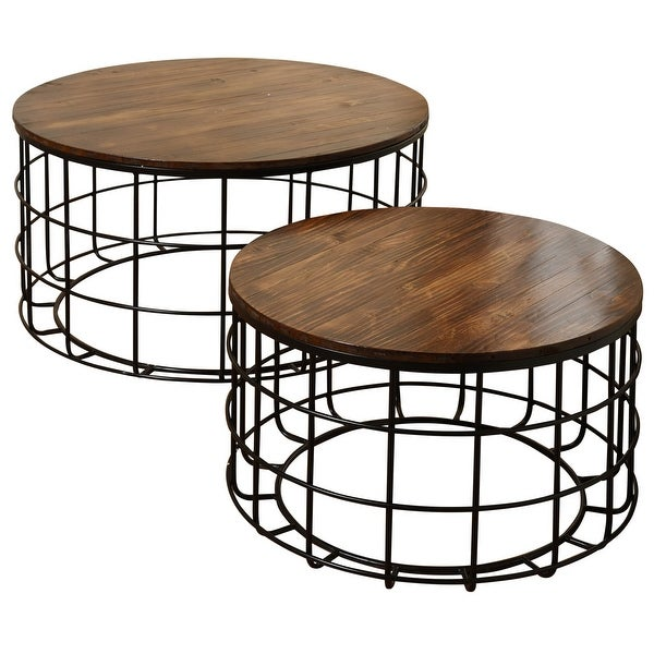 StyleCraft SC-SF225130 Multiple Sized Wood and Metal Nesting Coffee Table - Set of (2) - Cherry
