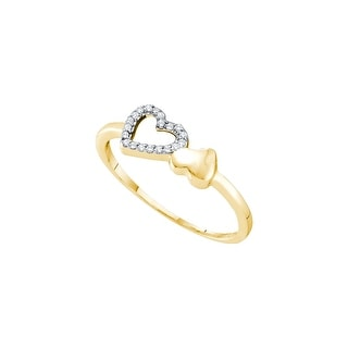 10k Yellow Gold Diamond-accent Womens Slender Dainty Small Double Heart Valentines Ring 1/20 Cttw - White