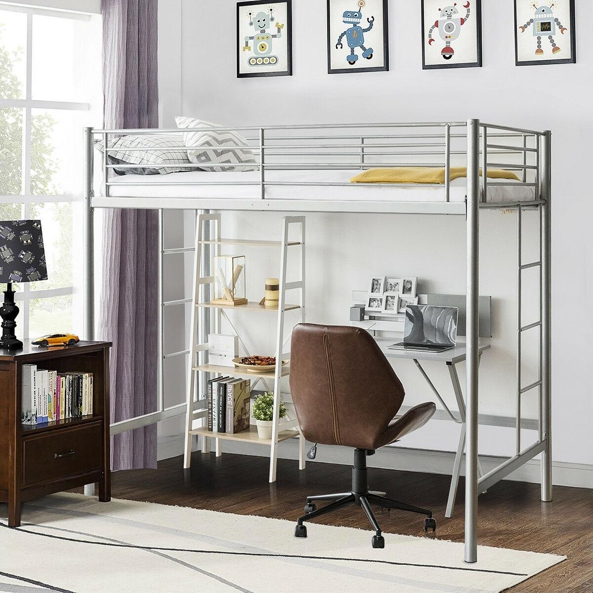 Gymax Twin Loft Bed Metal Bunk Ladder Beds Boys Girls Teens Kids Bedroom Dorm Overstock 24250748