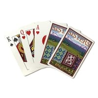 Sisters, OR - View with Quilts on Fence - LP Art (Poker Playing Cards Deck)
