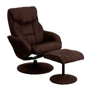 Offex Contemporary Brown Microfiber Recliner And Ottoman With Circular Microfiber Wrapped Base