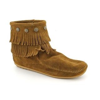 Minnetonka Double Fringe Side Zip Women Moc Toe Suede Brown Moccasins