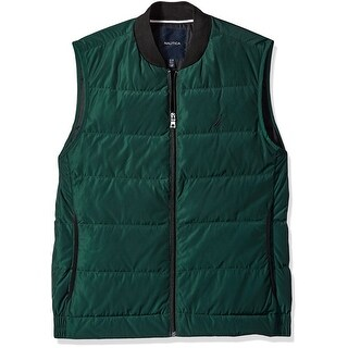Nautica NEW Green Mens Size Small S Quilted Down Full Zip Vest Jacket