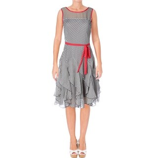 Signature By Robbie Bee Womens Petites Casual Dress Chiffon Striped - 10P