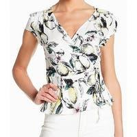 Love Fire White Lemon Floral Print Surplice Women's Size Small S Blouse